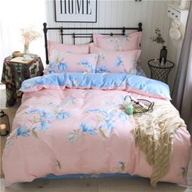 Elegant Flower Printed Pink Cotton 4-Piece Bedding Sets/Duvet Covers
