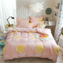 Yellow Lemon Printed Pink 4-Piece Cotton Bedding Sets/Duvet Covers