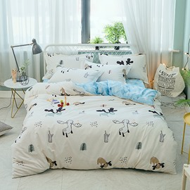 Cartoon Animal Printed 4-Piece Cotton Bedding Sets/Duvet Covers