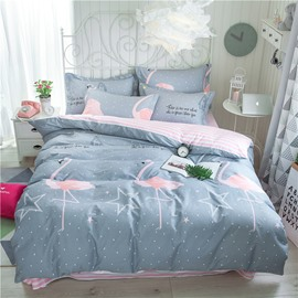 Flamingo Printed and Stripes 4-Piece Cotton Grey Bedding Sets/Duvet Covers