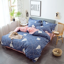 Classic Geometric Design Blue 4-Piece Cotton Bedding Sets/Duvet Covers