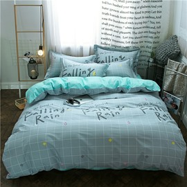 Falling Rain Printed Plaid Geometric Style Cotton 4-Piece Bedding Sets/Duvet Covers