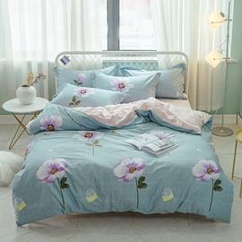Purple Flower Printed Cotton 4-Piece Bedding Sets/Duvet Covers