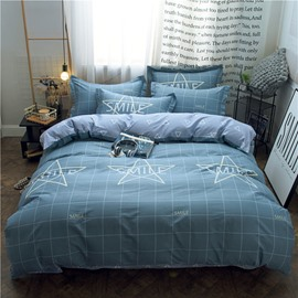 Plaid Simple Style Grey 4-Piece Cotton Bedding Sets/Duvet Covers