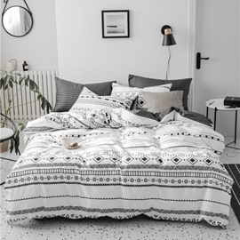 Black And White Geometry Concise Style 4-Piece Cotton Bedding Sets/Duvet Covers