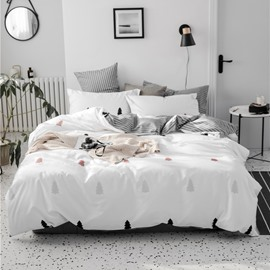 Abstract Image of Pine Trees Concise Style 4-Piece Cotton Bedding Sets/Duvet Covers