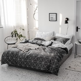 Black Check Pattern Double-sided Simple Style 4-Piece Cotton Bedding Sets/Duvet Covers