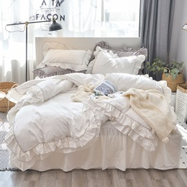 Solid White Soft Cotton Duvet Cover Sets with Bed Skirt 4-piece European Flounce Bedding Sets