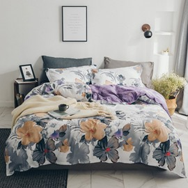 Gray and Yellow Flowers Cotton Duvet Covers Watercolor Style Breathable Soft 4-Piece Bedding Sets