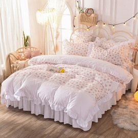 Shabby Pink Duvet Cover Set Rose Floral Bedding Collection Elegant Princess Lace Ruffle Quilt Cover Set for Girls 4 Pieces Twin Full Queen King Size