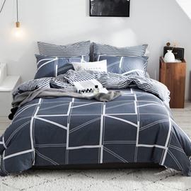 Modern Geometric Pattern Bedding Set 4-Piece Duvet Cover Set Cotton 1 Duvet Cover 1 Flat Sheet 2 Pillowcases Soft Comfortable Durable