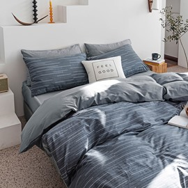 Modern 4-Piece Stripe Duvet Cover Set Cotton Bedding Set 1 Duvet Cover 1 Flat Sheet 2 Pillowcases Soft Comfortable Durable