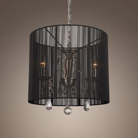 Black Shade Crystal 3 Lights Pendant Light