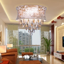 Enjoyable Round Metal Crystal Flush Mount