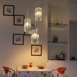 Stunning Metal Crystal 3 Lights Pendant Light