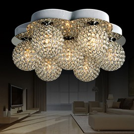 Wonderful 7-Heads Alloy and Crystal Flush Mount
