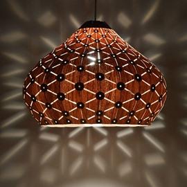 Modern Wooden Wood Veneer Shade Dining Room Pendant Lights