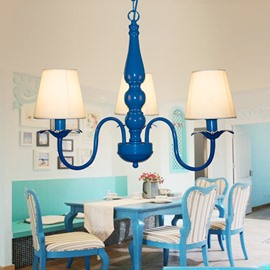 Simple Blue Mediterranean Style 3 Lights Ceiling Llight