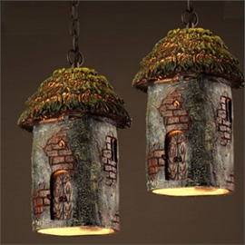 Amusing Resin Log Cabin Shape Decorative 1 Piece Ceiling Light