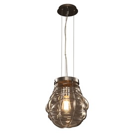 Transparent Iron Frame and Glass Round Ball Decorative Pendant Light