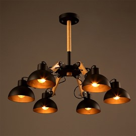 Black Simple Style Semicircle Shape 6 Bulb Holders Pendant Light