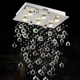 Shining Rectangle Fashion Design Crystal 6 Bulbs Decorative Flush Mount