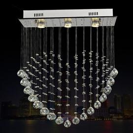 Modern Fashion Crystal Heart Shaped Three Bulbs LED Decorative Flush Mount