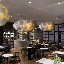 Modern Creative White Fiber Cloud Shape Design Home Decorative Pendant Light