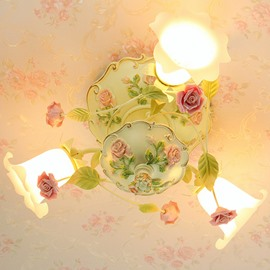 Amazing Country Style Colorful Flower Decoration 3 Lights Flush Mount