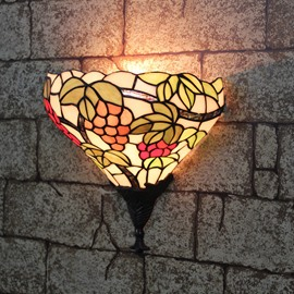 12-Inch Alluring Tiffany Style Grape Pattern Stained Glass Pocket Lantern