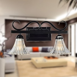 Modern Style Glass Shade Electroplated Finish 2 Heads Wall Light