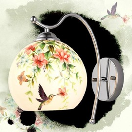 Simple Style Birds and Flowers Pattern 1-Head Wall Light