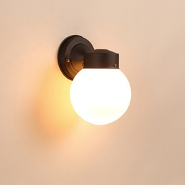 Black Base 1 Round Bulb Plastic and Glass Wall Light