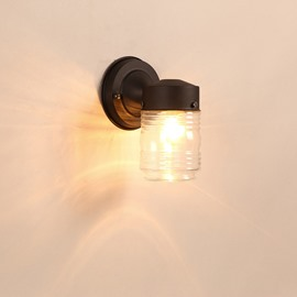 Black Basis with Striated Cylinder Hardware and Glass 1-Head Wall Light