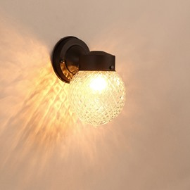 Black Base 1 Round Bulb with Plaids Plastic and Glass Wall Light