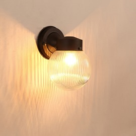 Black Basis with Vertical Striped Ball Hardware and Glass 1-Head Wall Light
