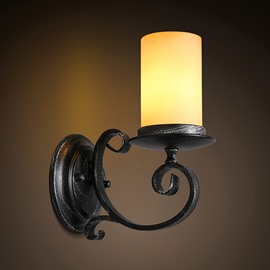 Cylinder Shape Classic Hardware 1-Head Decorative Wall Light