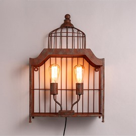 Bird Cage Shape Basis with 2-Head Hardware Decorative Wall Light