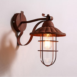 Coppery Basis with Latticed Shield Hardware Classic Decorative Wall Light
