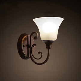 Brown Base and White Classic Glass Cover Hardware 1-Head Wall Light