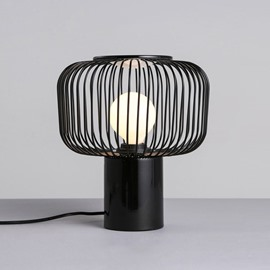 Black Cage Shape Hardware Modern Simple Design Table Lamp