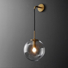 Northern Europe Style Vintage Glass Sphere Wall Light