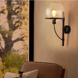 Retro Industrial Style Glass Button Mode Wall Light
