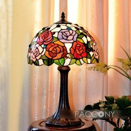 Artistic Tiffany Full-Bloom Rose Scene Pattern Table Lamp