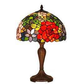 Beautiful Pastoral Artistic Tiffany Rose Pattern Table Lamp