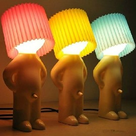 Funny Creative Shy Little Boy Bedside Multi-colored Lampshade Light