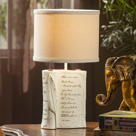 Elegant Book and Feather Style Resin Table Lamp