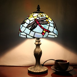 Tiffany Style Dragonfly Pattern Stained Glass Table Lamp