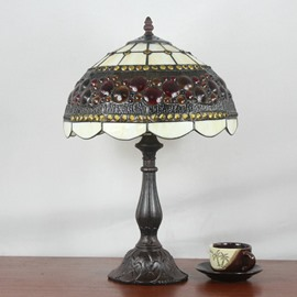 12-Inch European Retro Style Tiffany Floral Pattern Stained Glass Table Lamp