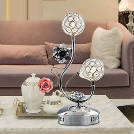 Pretty Amazing Stainless Steel and Crystal 2-head Table Lamp